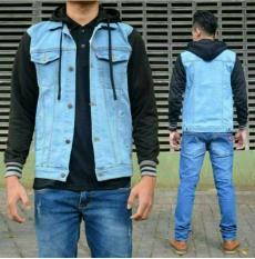 Jaket jeans boy hoodie kombinasi