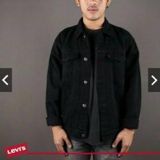Jaket jeans COWOK BLACK/ jaket jeans PRIA HITAM