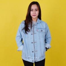 Jaket Jeans Denim Cewe Regular Oversize BIru Muda Best Seller