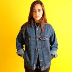 Iklan Jaket Jeans Denim Cewe Regular Oversize Biru Tua