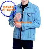 Jaket Jeans Denim Pria Light Blue Bioblits Asli
