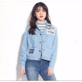 Review Toko Jaket Jeans Denim Wanita Retro Style Light Blue