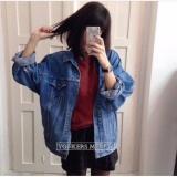 Beli Jaket Jeans Denim Women Oversized Biowash Di Jawa Barat