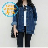Beli Jaket Jeans Wanita Oversize Murah Blue Classic