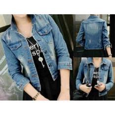 Spesifikasi Jaket Jeans Denim Dark Ripped Wanita Cewek Yang Bagus