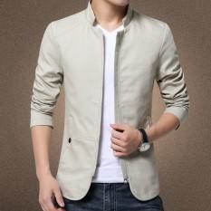 Jaket Kulit - Blazer Jacket Zipper Executive Style - Abu-Abu