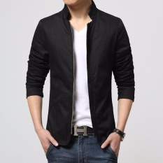 Review Toko Jaket Kulit Blazer Jacket Zipper Hitam