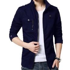 Jaket Kulit - Blazer Jacket Zipper SlimFitt Executive Biru