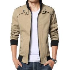 Jaket Kulit - Blazer Jacket Zipper SlimFitt Executive Krem