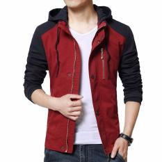 Jaket Kulit - Jaket Denim Hoodie Comby Executive Style Merah Biru