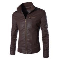 Beli Jaket Kulit Leather Jacket Bikers Style Coklat Baru