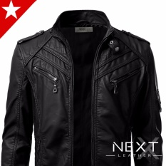 Jaket Kulit Motor Pria / Jaket Bikers Night Black NB03