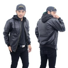 Jaket kulit pria bertudung/ hoodie keren ( hitam )