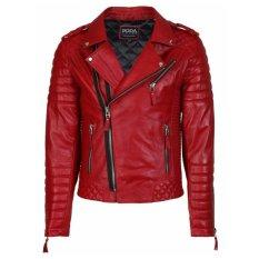 jaket kulit ramones merah