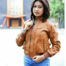 Jaket kulit wanita coklat elegan simple murah best seller