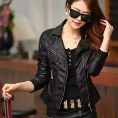 jaket kulit wanita hitam elegan