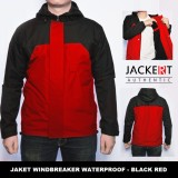 Jual Jaket Motor Harian Parasut Windbreaker Outdoor Anti Air Tahan Angin Hitam Merah Ori