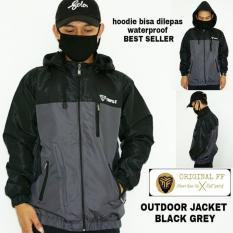 Obral Jaket Outdoor Waterproof Black Grey Original Distro Murah