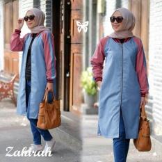 Ladies Fashion Jaket Panjang / Jaket Muslim / Luaran Muslimah / Baju Bomber Terusan / Bahan Katun (hiraza) SS D30 - Biru D3C
