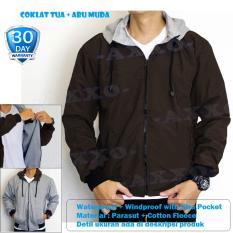 Spesifikasi Jaket Parasut Fleece 2In1 Bolak Balik Jaket Pria Coklat Tua Ax002 Jaket Pria Terbaru