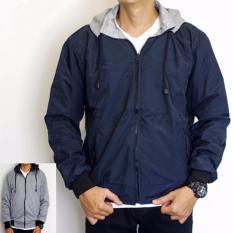 Ulasan Jaket Parasut Fleece Hoodie 2In1 Bolak Balik Jaket Pria Biru Navy