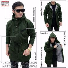 Jaket Parka Assasin Hoodie Zipper Green Army Jawa Barat