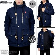 Model Jaket Parka Jumbo Jaket Parka Zipper Pria Navy Blue Terbaru
