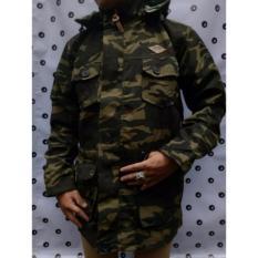 Model Jaket Parka Loreng Pria Hoddie Trend Terbaru Hijau Army Terbaru