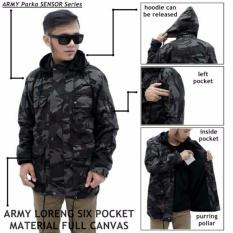 Jaket Parka Pria Pocket Loreng Army