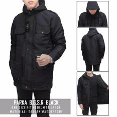 Jaket pria - parka taslan anti air (hitam)