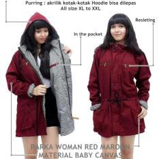 Jaket Parka Wanita - Baby Canvas Premium - Bolak-Balik - merah marun