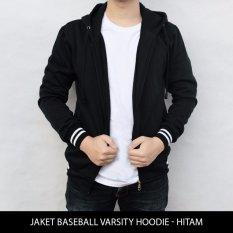 Jaket Polos Baseball Varsity Hoodie - Hitam