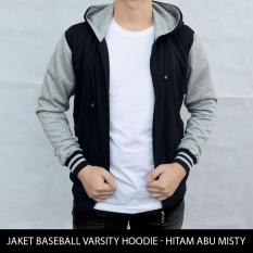 Jaket Polos Baseball Varsity Hoodie - Hitam Abu Misty