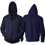 Jual Jaket Polos Biru Dongker Hoodie Zipper Resleting Tidak Ada Merk Branded
