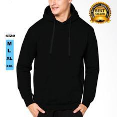 Jaket polos hoodie jumper hitam premium / jacket pria dan wanita