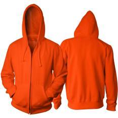 Jual Jaket Polos Orange Hoodie Zipper Resleting Tidak Ada Merk Murah