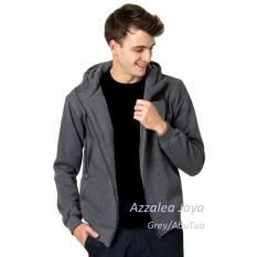 Jual Jaket Polos Pria Hoodie Zipper Korean Simple Sweater Abu Tua Zip Dark Grey Grosir