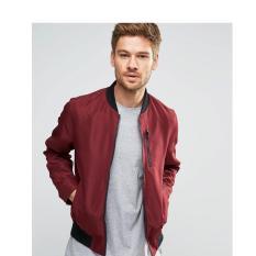 Jaket Pria - Baseball Style Slim Casual - Merah