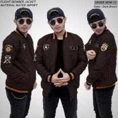 Diskon Jaket Pria Bomber Premium Xua Dark Brown Jawa Barat