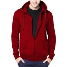 Spesifikasi Jayasinar Jaket Pria Korean Hoodie Polos Sleting Merah Zipper Red Murah Berkualitas