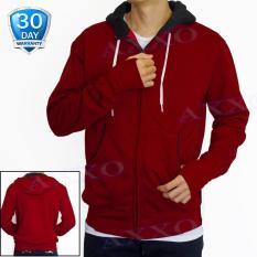 Toko Axxo Jaket Pria Sweater Hoodie Zipper Polos Jaket Sweater Pria Ax004 Merah Marun Lengkap