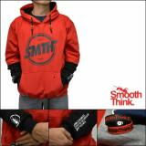 Jaket Smooth Think Hoodie Jumper Red Black Diskon Akhir Tahun