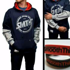 Diskon Jaket Smooth Think Reglan Font Bulat Navy Branded
