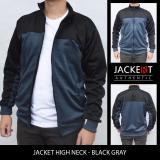 Jual Jaket Sport High Neck Hitam Abu Branded Original