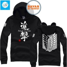 Jual Jaket Sweater Anime Attack On Titan Hoodie Best Seller Black Lengkap