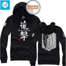 Review Terbaik Jaket Sweater Anime Attack On Titan Hoodie Best Seller Black