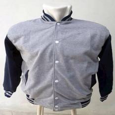 Jaket Sweater Baseball/Varsity Abu Misty Hitam