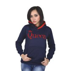 Jaket Sweater Hoodie Casual Fleece Wanita Catenzo PL 436 - Biru Navy