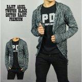 Jual Beli Online Jaket Sweater Hoodie Ziffer Rajut Twoton Knit Kombinasi Black Hitam Abu