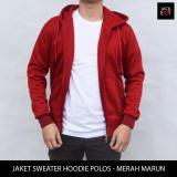 Beli Jaket Sweater Hoodie Zipper Polos Merah Marun Baru